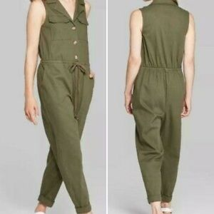 Wild Fable olive green sleeveless utility jumpsuit